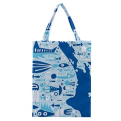 New Zealand Fish Detail Blue Sea Shark Classic Tote Bag by Mariart