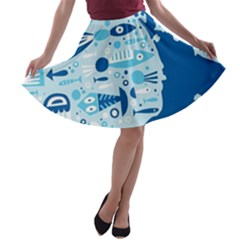 New Zealand Fish Detail Blue Sea Shark A Line Skater Skirt by Mariart