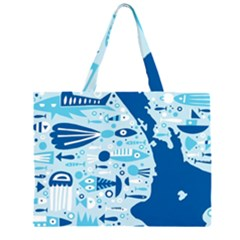 New Zealand Fish Detail Blue Sea Shark Zipper Large Tote Bag by Mariart