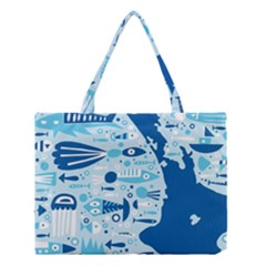 New Zealand Fish Detail Blue Sea Shark Medium Tote Bag by Mariart