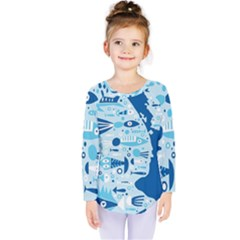 New Zealand Fish Detail Blue Sea Shark Kids  Long Sleeve Tee by Mariart