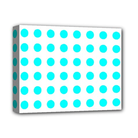 Polka Dot Blue White Deluxe Canvas 14  X 11  by Mariart