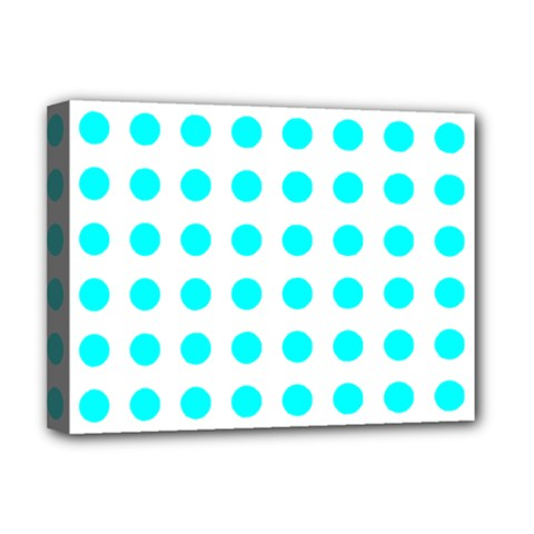 Polka Dot Blue White Deluxe Canvas 16  X 12   by Mariart