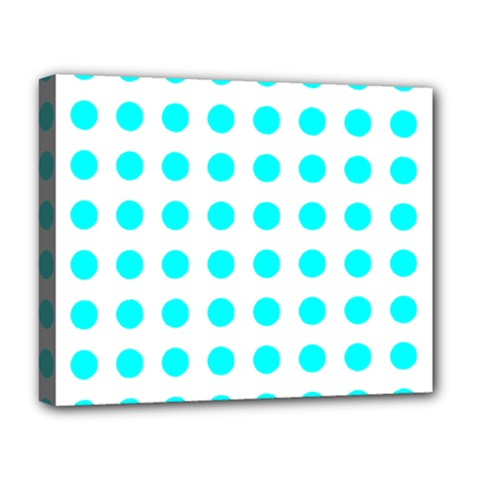 Polka Dot Blue White Deluxe Canvas 20  X 16   by Mariart