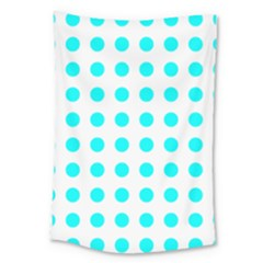 Polka Dot Blue White Large Tapestry by Mariart