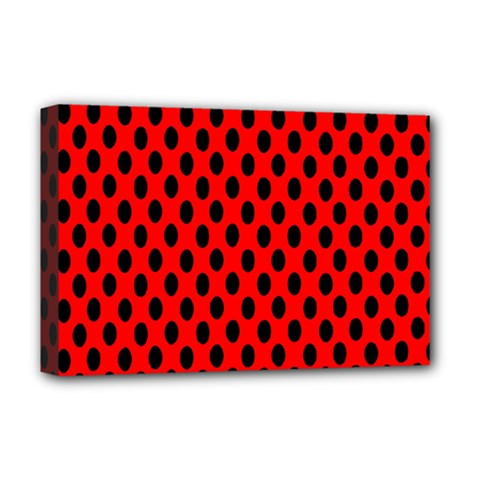Polka Dot Black Red Hole Backgrounds Deluxe Canvas 18  X 12   by Mariart