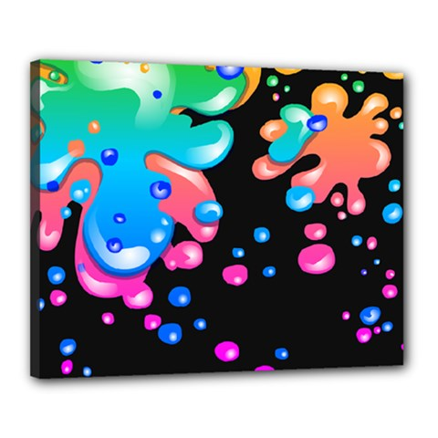 Neon Paint Splatter Background Club Canvas 20  X 16  by Mariart
