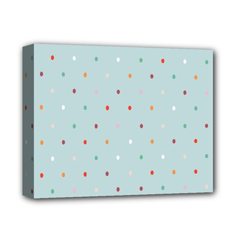 Polka Dot Flooring Blue Orange Blur Spot Deluxe Canvas 14  X 11  by Mariart