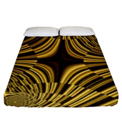 Fractal Golden River Fitted Sheet (king Size) by Simbadda