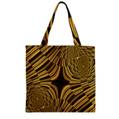 Fractal Golden River Zipper Grocery Tote Bag by Simbadda