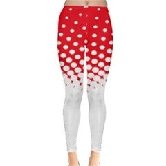 Polka Dot Circle Hole Red White Leggings  by Mariart