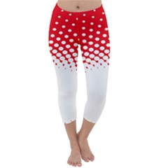 Polka Dot Circle Hole Red White Capri Winter Leggings