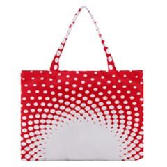 Polka Dot Circle Hole Red White Medium Zipper Tote Bag by Mariart