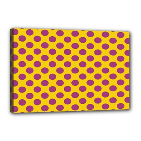 Polka Dot Purple Yellow Orange Canvas 18  X 12  by Mariart