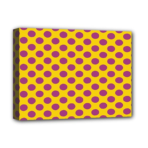 Polka Dot Purple Yellow Orange Deluxe Canvas 16  X 12   by Mariart