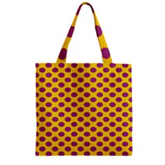Polka Dot Purple Yellow Orange Zipper Grocery Tote Bag by Mariart