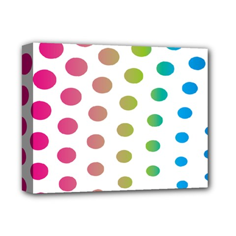 Polka Dot Pink Green Blue Deluxe Canvas 14  X 11  by Mariart