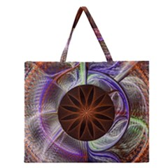 Background Image With Hidden Fractal Flower Zipper Large Tote Bag by Simbadda
