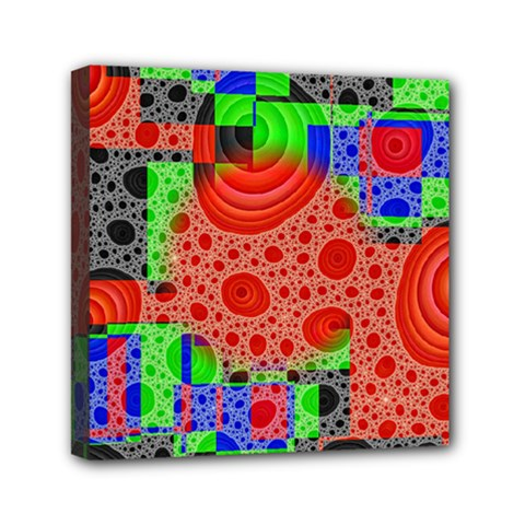 Background With Fractal Digital Cubist Drawing Mini Canvas 6  X 6  by Simbadda