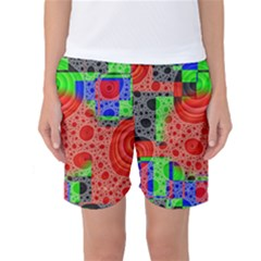 Background With Fractal Digital Cubist Drawing Women s Basketball Shorts