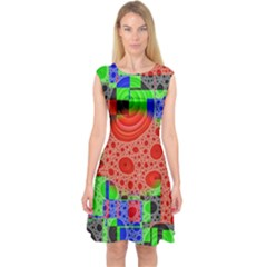 Background With Fractal Digital Cubist Drawing Capsleeve Midi Dress by Simbadda