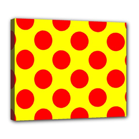 Polka Dot Red Yellow Deluxe Canvas 24  X 20   by Mariart