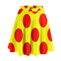 Polka Dot Red Yellow High Waist Skirt by Mariart