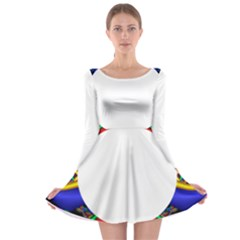 Symmetric Fractal Snake Frame Long Sleeve Skater Dress