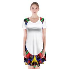 Symmetric Fractal Snake Frame Short Sleeve V-neck Flare Dress