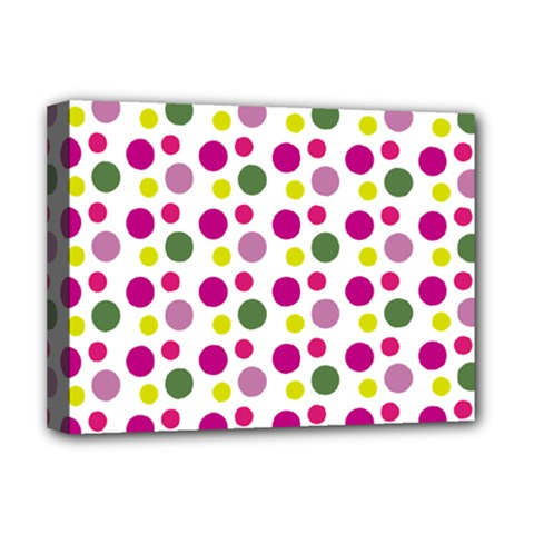 Polka Dot Purple Green Yellow Deluxe Canvas 16  X 12   by Mariart