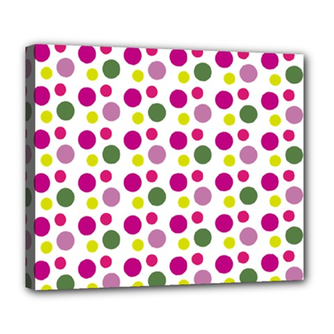 Polka Dot Purple Green Yellow Deluxe Canvas 24  X 20   by Mariart