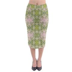 Digital Computer Graphic Seamless Wallpaper Midi Pencil Skirt by Simbadda