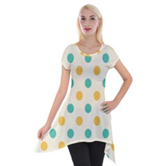 Polka Dot Yellow Green Blue Short Sleeve Side Drop Tunic by Mariart