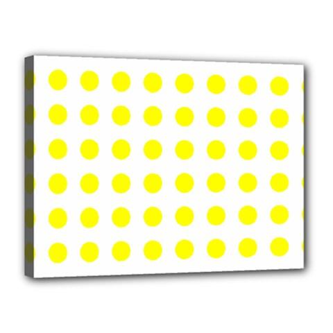 Polka Dot Yellow White Canvas 16  X 12  by Mariart