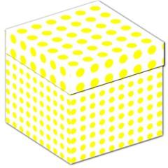 Polka Dot Yellow White Storage Stool 12   by Mariart