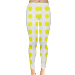 Polka Dot Yellow White Leggings  by Mariart