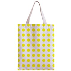 Polka Dot Yellow White Zipper Classic Tote Bag by Mariart