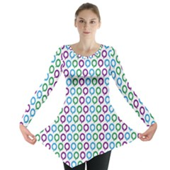 Polka Dot Like Circle Purple Blue Green Long Sleeve Tunic  by Mariart