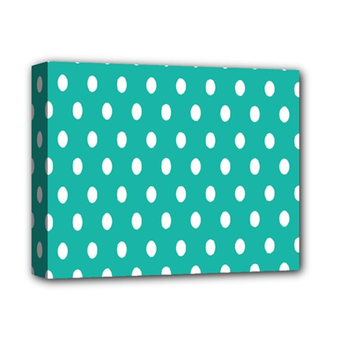Polka Dots White Blue Deluxe Canvas 14  X 11  by Mariart