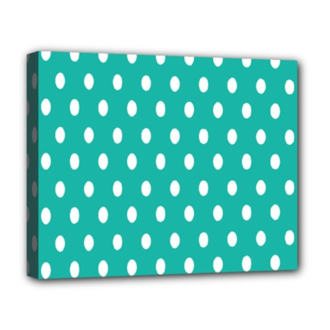 Polka Dots White Blue Deluxe Canvas 20  X 16   by Mariart