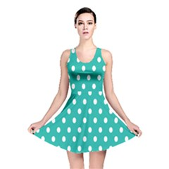 Polka Dots White Blue Reversible Skater Dress