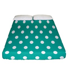 Polka Dots White Blue Fitted Sheet (queen Size) by Mariart
