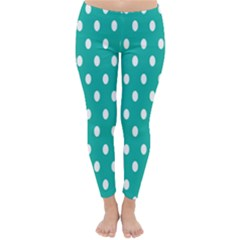 Polka Dots White Blue Classic Winter Leggings by Mariart