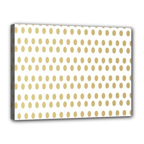 Polka Dots Gold Grey Canvas 16  X 12