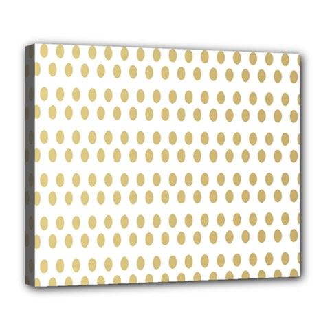 Polka Dots Gold Grey Deluxe Canvas 24  X 20   by Mariart