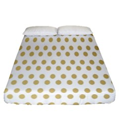 Polka Dots Gold Grey Fitted Sheet (queen Size) by Mariart