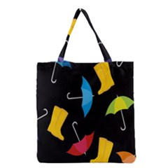 Rain Shoe Boots Blue Yellow Pink Orange Black Umbrella Grocery Tote Bag by Mariart