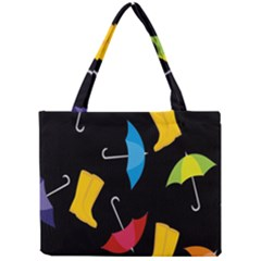 Rain Shoe Boots Blue Yellow Pink Orange Black Umbrella Mini Tote Bag by Mariart