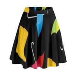 Rain Shoe Boots Blue Yellow Pink Orange Black Umbrella High Waist Skirt by Mariart