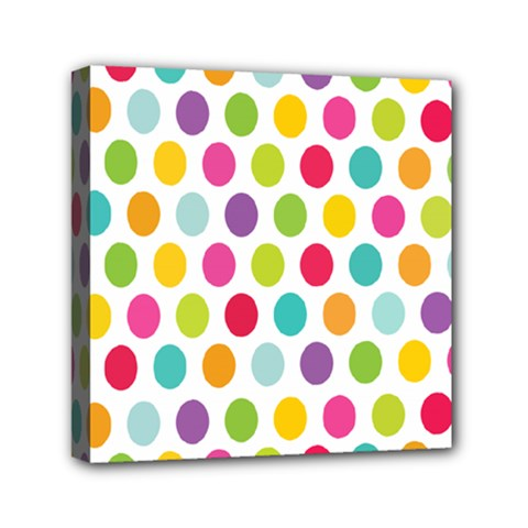Polka Dot Yellow Green Blue Pink Purple Red Rainbow Color Mini Canvas 6  X 6  by Mariart